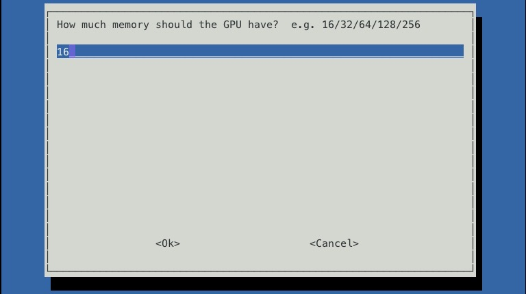 raspi-config set GPU memory amount