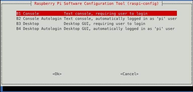 raspi-config boot to console